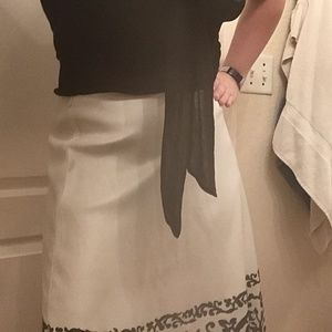 WHBM off-white with studded black hem a-line skirt